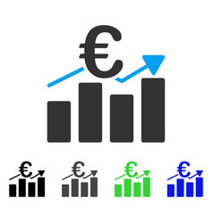 Euro business bar chart flat icon vector
