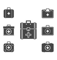 first aid kit icon set symbol vector image vector image