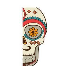 half piece decorative ornamental sugar skull vector image vector image