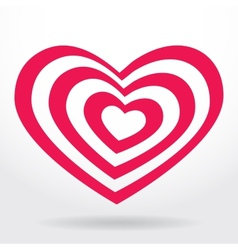 Pink white striped heart on white background vector image vector image