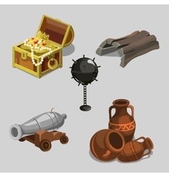 Remains of the ship cannon treasure and other vector image