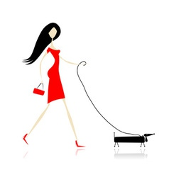 Woman in red dress walking with dog vector image