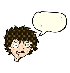 cartoon crazy excited woman with speech bubble vector image