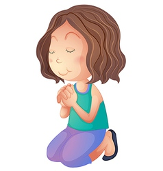 Cartoon woman praying vector image