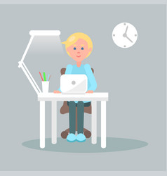character sits at table with laptop vector image vector image