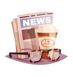 coffee with a newspaper and glasses vector image