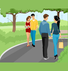 couples walking at park vector image