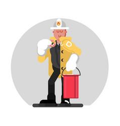 fireman standing with bucket vector image vector image
