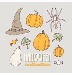 Hand drawn halloween clip art collection vector image vector image