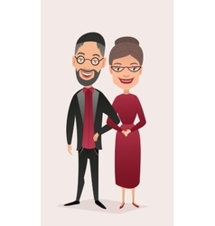 Happy jewish middle aged couple isolated vector image vector image