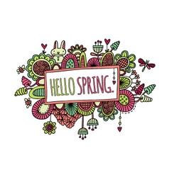 Hello Spring Hand Drawn Doodle Bright vector image