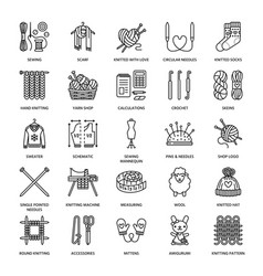 knit crochet hand made line icons set knitting vector image vector image