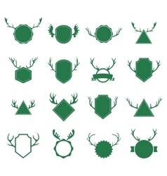 Badges with deer horns on white background vector image vector image