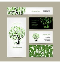 Business cards design family tree vector image