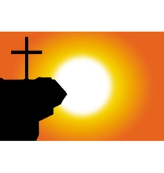 easter silhouette of jesus cross background vector image vector image