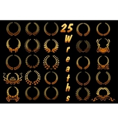 Golden laurel wreaths with ribbons and bows icons vector image
