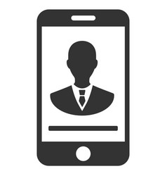 Mobile manager contact flat icon vector