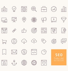 SEO Outline Icons for web and mobile apps vector image vector image