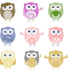 Set of nine cartoon owls with various emotions vector image vector image