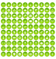 100 meeting icons set green circle vector