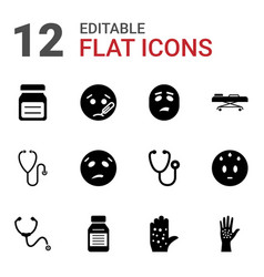 12 sick icons vector
