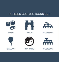 6 culture icons vector