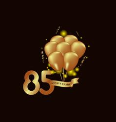 85 year anniversary gold balloon template design vector