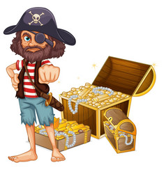 a pirate with treasure vector image