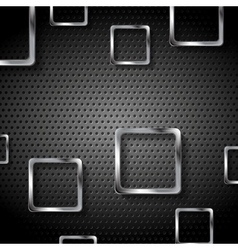 Abstract metal perforated background with squares vector image