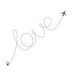 airplane route with dotted word love vector image