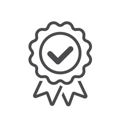 approved or certified badge correct mark icon line vector image