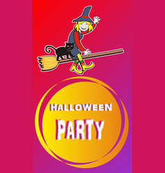 banner - halloween party witch vector image