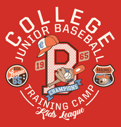 Baseball kids college league champ vector