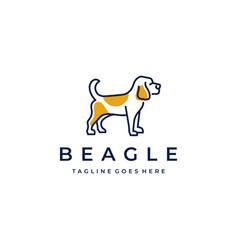 beagle dog monoline logo design vector image