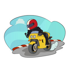 biker riding on his motorbike vector image