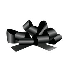 Black bow and ribbons decoration element for vector