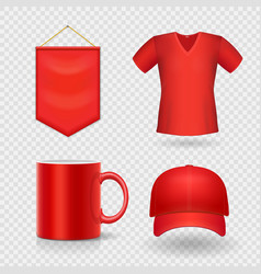 blank corporate promotional red identity gifts vector image vector image
