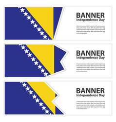 bosnia and herzegovina flag banners collection vector image