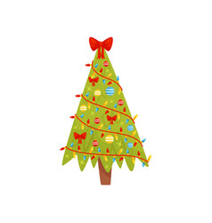bright green christmas tree decorated with lights vector image