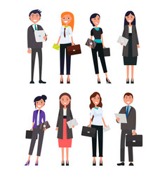 Business people male and female formally dressed vector