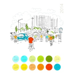 Calendar 2014 Sketch of traffic road in asian city vector