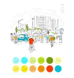 Calendar 2014 sketch of traffic road in asian city vector