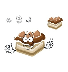 Cartoon slice of chocolate cake vector