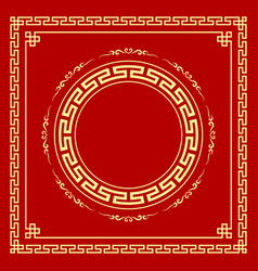 Chinese frame style on red background vector
