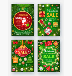 christmas sale winter holidays discounts banners vector image