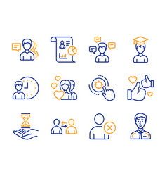 Conversation messages couple and report icons set vector