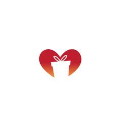 creative heart gift box symbol logo icon vector image