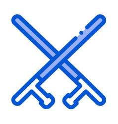 crossed police batons icon outline vector image
