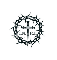 Crucifixion and thorn crown vector