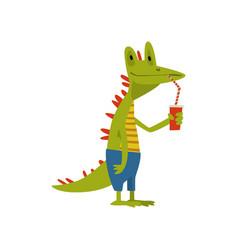 Cute crocodile drinking soda with straw funny vector